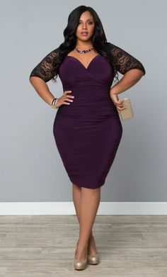 Valentina Illusion Dress- Black/Purple Passion  Trendy Curvy | Plus Size Fashion | Fashionista | Shop online at www.curvaliciousclothes.com TAKE 15% OFF Use code: SVE15 at checkout