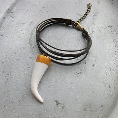 Free Spirit - Anklet Tusk - leather cord anklet with handmade tusk tooth horn
