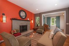 Grey living room with orange accent wall accents decor blue and Living Room Orange, Accent Walls In Living Room, Living Room Color Schemes, Paint Colors For Living Room, Living Room Grey, Living Room Designs, Colour Blocking Interior, Color Blocking, Orange Accent Walls
