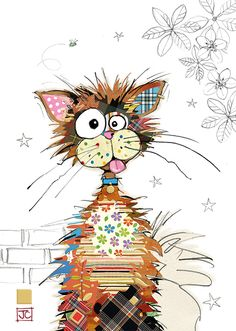 Ziggy Cat bug art greeting card -Designed by Jane Crowther Splat Le Chat, Art Du Collage, Art Fantaisiste, Art Mignon, Bug Art, Happy Paintings, Cat Cards, Whimsical Art, Fabric Art