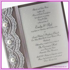 Perfect DIY Invitations Lace : Do It Yourself Wedding Invitation   Urban Fold Over  Lace U0026 Pearls
