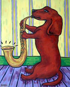 Dachshund dog reading  art print 11x14 gift for librarian