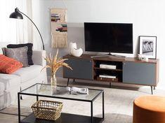 Mobile TV in colore grigio grafite/marrone scuro PORTLAND Tv Stand Light Wood, Tv Stand Lights, Portland, Dark Wood Sideboard, Commode Design, Design Simples, Style Retro, White Doors, Tv Cabinets