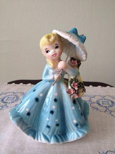 Vintage Lefton Girl With Umbrella Figurine by SchmitysVintageBooty, $21.00