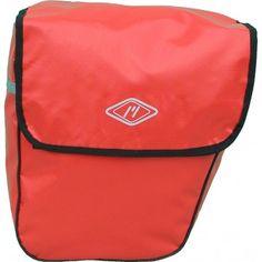 Coppia di borse rosse posteriori per bicicletta in pvc.
