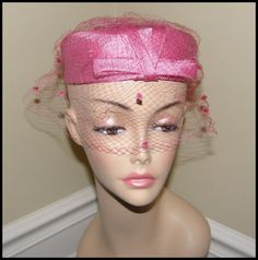 Vintage Pink Halo Hat with Veil Bridal Wedding by Nicholettes, $12.95