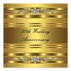 Custom Elegant Gold Golden Wedding Anniversary Personalized Invites created by InvitationCentral. This invitation design is available on many paper types and is completely custom printed. 50th Wedding Anniversary Invitations, 50th Birthday Invitations, Golden Wedding Anniversary, Elegant Invitations, Elegant Wedding Invitations, Anniversary Parties, 50th Anniversary, Holiday Invitations, Invitations Online