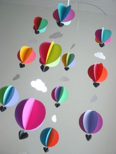 Mobile-Hot Air Balloons & Clouds-3D-Mobile-Crib Mobile-Baby-Nursery Decor-Kids Room-Children-Bright Colours-Baby Shower Gift-Paper. $43.95, via Etsy.