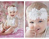 White petti lace romper and headband SET, petti romper,baby headband, flower headband,vintage inspired headband and lace petti romper