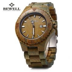 Bewell ZS W023B Wooden Quartz Watch for Men Date Display Luminous... ($20) ❤ liked on Polyvore featuring men's fashion, men's jewelry, men's watches, mens quartz watches, mens wooden watches and mens wood watches