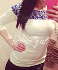 Graceful Round Neck 3/4 Sleeve Slimming Printed Women's T-Shirt