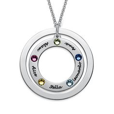 Family Circle Necklace with Birthstones Circle Necklace, Name Necklace, Washer Necklace, Pendant Necklace, 925 Silver, Sterling Silver, Mother Jewelry, Family Circle, Birthstone Pendant