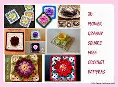3D flower granny square free crochet patterns  These patterns are crocheted continually from flower to the square bed.