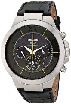 Seiko Men's SSC285 Analog Display Japanese Quartz Black Watch Modern Watches, Cool Watches, Watches For Men, Seiko Men, Affordable Watches, Seiko Watches, Watch Sale, Watch Brands, Casio Watch