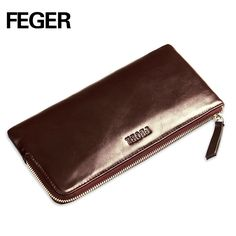 14a35cd635c FEGER Leather Wallets Black Thin Card Holder Wallet Zipper Genuine Leather  Men Clutch Bags Multifunctional Mobile Wallet Case   Price   US  35.00    FREE ...