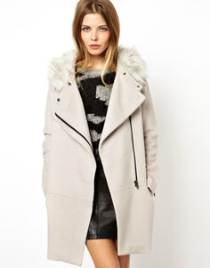 ASOS Ovoid Coat With Faux Fur Collar