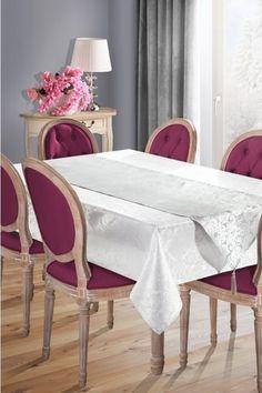 Set fata de masa si traversa Sue II 160x300 cm Alb / Argintiu #homedecor #interiordesign #inspiration #tableclothes #pink Dining Chairs, Interior, Clothes, Furniture, Design, Home Decor, Outfits, Clothing, Decoration Home