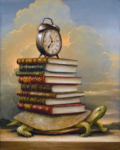 The Messenger, 2011 © Kevin SLOAN (Artist, USA). Magic Realism, Allegorical Realism, Symbolism, Allegory. The turtle plods along carrying his load of books and an alarm clock.