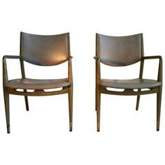 Matching Pair of Modernist Stow Davis Limed Oak and Leather Armchairs | From a unique collection of antique and modern armchairs at https://www.1stdibs.com/furniture/seating/armchairs/