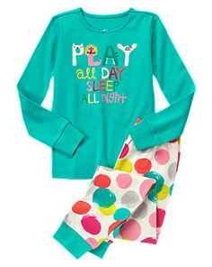 Play All Day Sleep All Night Two-Piece Gymmies Gymboree Turquoise Polka Dot Play Pajamas/Gymmies   sale: $9.99