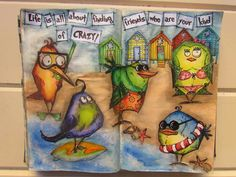 Art journal page: prompt Friendship. Using Tim Holtz Bird Crazy stamps.