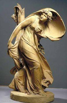 Femme effrayée d'un coup de tonnerre qui vient de rompre un arbre à côté d'elle | Musée du Louvre | Paris