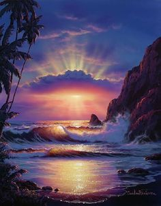 Molokai'i Sunrise by Christian Riese Lassen; that's the island I spent the most time on and it was the most relaxing vacation I ever had Fantasy Art Landscapes, Landscape Art, Beautiful Landscapes, Landscape Paintings, Landscape Photography, Ocean Wave Painting, Wave Art, Pictures To Paint, Cool Pictures