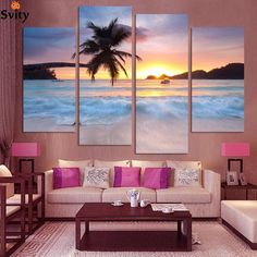 Buy Unframed Wall Decor Ocean Sea Art Canvas Wall Art Sunset Yellow Picture Modern Canvas Painting Printed Living Room Decor at Wish - Shopping Made Fun Beach Canvas Art, Beach Wall Art, Framed Wall Art, Canvas Wall Art, Wall Art Prints, Canvas Paintings, Scenery Paintings, Images Murales, Beautiful Ocean