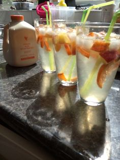 Forever Bits and Peaches aloe Vera gel added to cold lemonade with fresh peach and orange chunks. The kids won't know how good it is for them, and grown-ups, it tastes just like Archers.