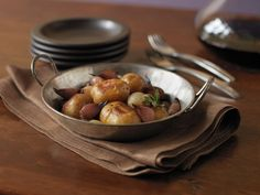 Balsamic Glazed Potatoes and Onions: This is a nice vegetarian side dish for a family-style meal.  The balsamic vinegar and herbs add complexity and a hint of sweetness that pairs wonderfully with big red wines such as Syrah and Merlot.
