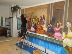"14ft. mural.  A Biblical scene copied from the book ""Imitate Their Faith"" painted on canvas,  for a Kingdom Hall.  By Louise Moorman"