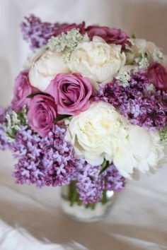Abernethy Center, Oregon, Wedding, Bridal Bouquet, Lilac, Lavender, Roses, Peonies