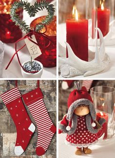 christmas red and white decoration - Buscar con Google