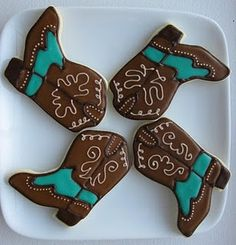 Cowboy boot cookies ~ I am going to make clay ornaments for my tree with these!