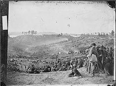Confederate prisoners awaiting transportation, Bell Plain, VA.  Matthew Brady photograph.