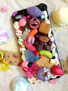 iPhone 5 Sweets Deco-den Case Black with Vivienne Orb Inspired Candy