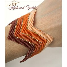 Wide cuff bracelet, ombre, orange brown cuff, earth tones, chevron... ($35) ❤ liked on Polyvore featuring jewelry, bracelets, crochet jewelry, bangle cuff bracelet, wide bangle, beaded jewelry and cuff jewelry