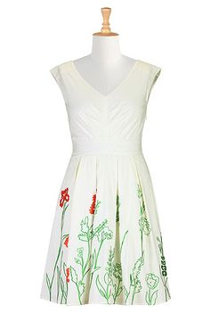I <3 this Embroidered floral poplin dress from eShakti