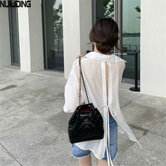 Chanel Style, Chanel Fashion, Backless Shirt, Beach Kimono, Insta Photo Ideas, Cheap Blouses, Drawstring Backpack, Cover Up