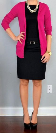 Outfit Posts: outfit posts: pink cardigan, black blouse, black pencil skirt by hope