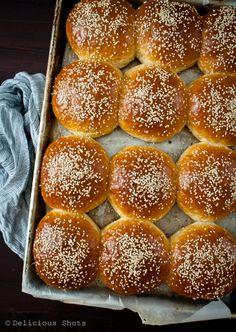 Delicious Shots: Brioche Buns, Lamb Burgers and Sweets Potato Oven Fries with Harissa Yogurt
