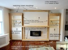 Built in ikea hack - Studio Kosnik (do this in basement for art supplies and toys and to cover brick fireplace - Home Decor Like Built In Around Fireplace, Fireplace Built Ins, Bookshelves Built In, Brick Fireplace, Fireplace Design, Billy Bookcases, Ikea Fireplace, Fireplace Ideas, Ikea Bookshelf Hack