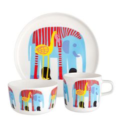 Maija Loukari's loveable print of three unlikely pals, a flamingo, a zebra and an elephant, takes center stage on the Marimekko Karkuteillä Kids Dinnerware Set. Made of vitreous porcelain and scaled to Marimekko, Crate And Barrel, Fancy Dishes, Kids Dishes, Cool Mom Picks, Dish Sets, Dinner Sets, Kids Playing, Crates