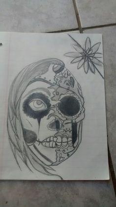 Dibujo calavera Skull, Tattoos, Art, Skulls, Drawings, Craft Art, Tatuajes, Tattoo, Kunst
