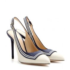 Charlotte Olympia Plain Sailing Canvas Pumps (17,725 DOP) ❤ liked on Polyvore featuring shoes, pumps, heels, обувь, scarpe, canvas footwear, charlotte olympia, navy heel shoes, navy shoes and navy blue pumps