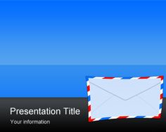 Email Marketing PowerPoint Template with mail envelope and blue background