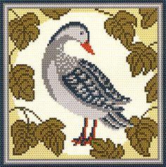 arraiolos/smk013G.gif Cross Stitch Bird, Cross Stitch Animals, Cross Stitch Charts, Cross Stitching, Cross Stitch Embroidery, Rug Hooking, Bird Art, Rugs On Carpet, Needlepoint