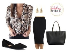 Animal Print Tops - Black and brown python blouse, black pencil skirt, black flats and black tote Pencil Skirt Outfits, Pencil Skirt Black, Pencil Skirts, Business Chic, Business Fashion, Office Skirt Outfit, Office Outfits, Professional Wear, Office Fashion Women