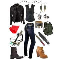 Outfit inspired by The Walking Dead (AMC) character Daryl Dixon. Walking Dead Clothes, Walking Dead Costumes, Themed Outfits, Girl Outfits, Fashion Outfits, Inspired Outfits, Disney Fashion, Zombie Apocalypse Outfit, Apocalypse Fashion