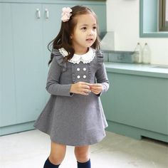 Cheap clothing warehouse, Buy Quality clothing scarf directly from China dresses for wedding parties Suppliers: 2017 spring autumn new arrival cotton girl korean clothes doll collar long sleeved casual girls A-line mini dress kids clothing Outfits Niños, Korean Outfits, Spring Outfits, Kids Outfits, Fashion Outfits, Korean Clothes, Fashion Clothes, Fashion Purses, Fashion Boots